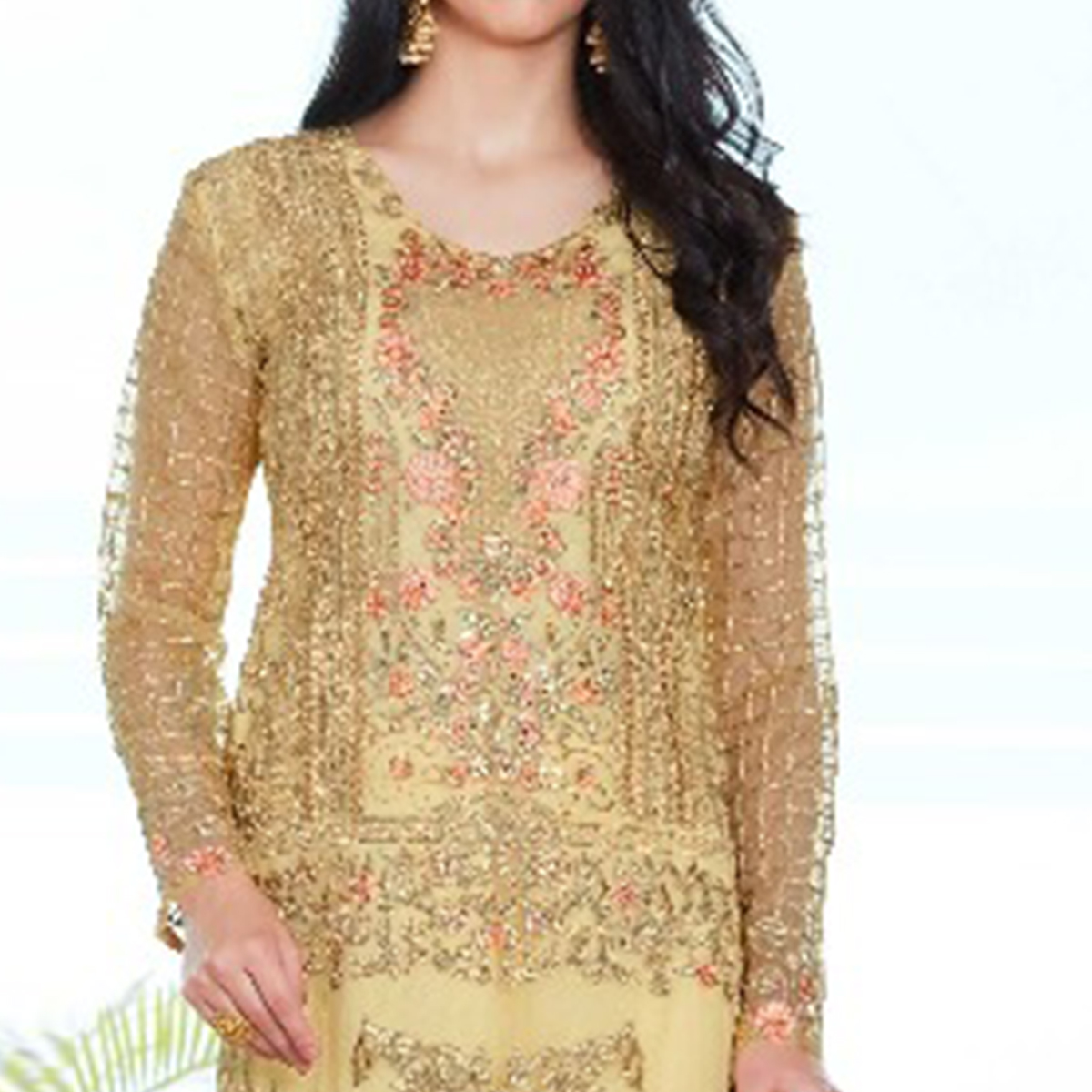 Engrossing Light Yellow Colored Party Wear Embroidered Organza Suit