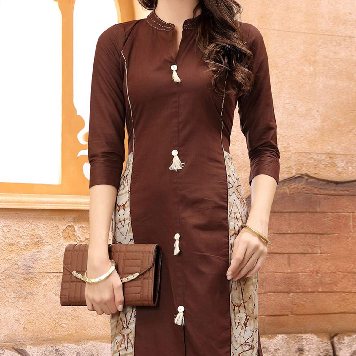 Charming Brown Partywear Printed Cotton Kurti