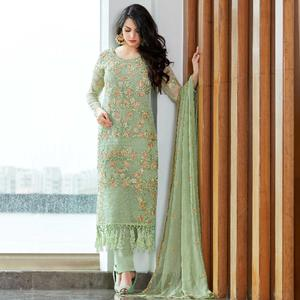 Fantastic Aqua Green Colored Party Wear Embroidered Organza Suit