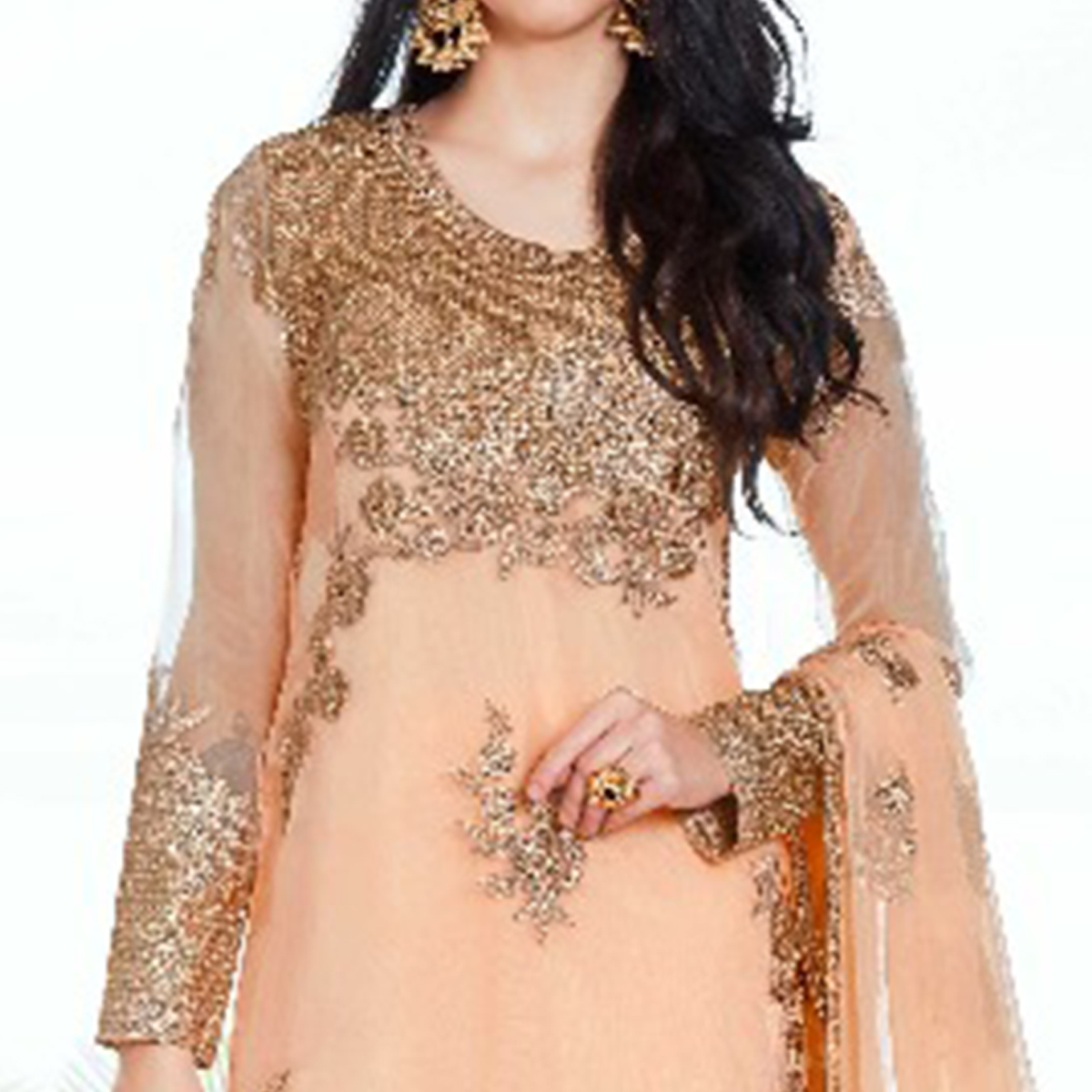 Staring Peach Colored Party Wear Embroidered Organza Suit