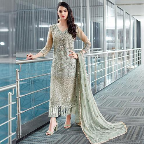 Pleasance Grey Colored Party Wear Embroidered Organza Suit