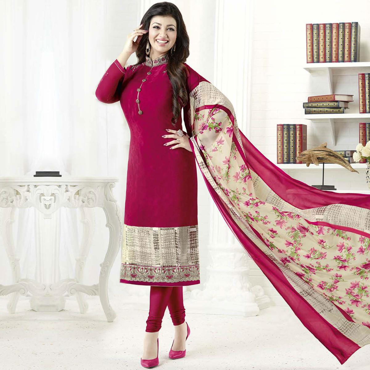 Lovely Dark Pink Colored Embroidered Party Wear Crepe Salwar Suit