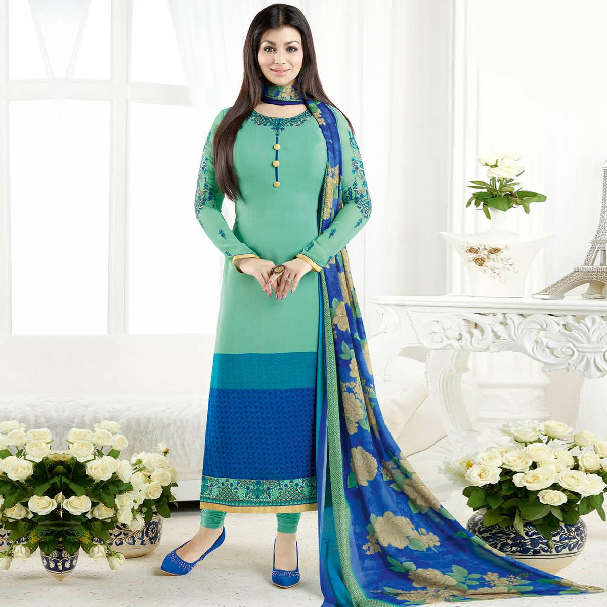 Sizzling Turquoise Green Colored Embroidered Party Wear Crepe Salwar Suit