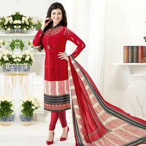 Delightful Red Colored Embroidered Party Wear Crepe Salwar Suit