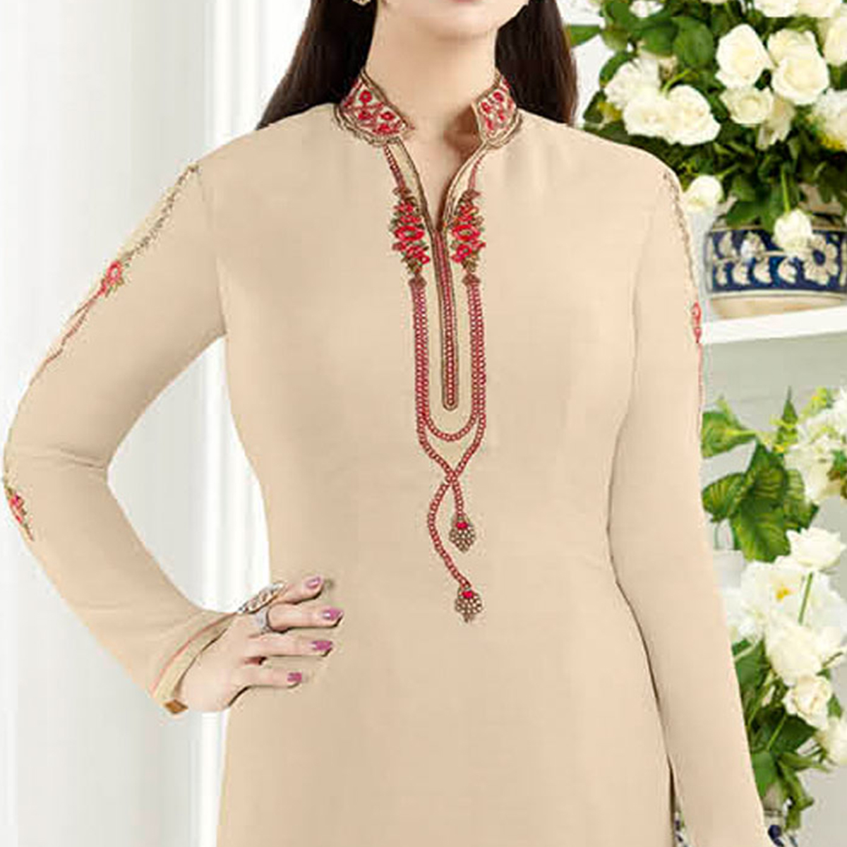 Beautiful Beige Colored Embroidered Party Wear Crepe Salwar Suit