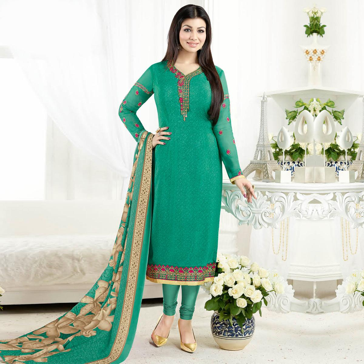 Jazzy Green Colored Embroidered Party Wear Crepe Salwar Suit
