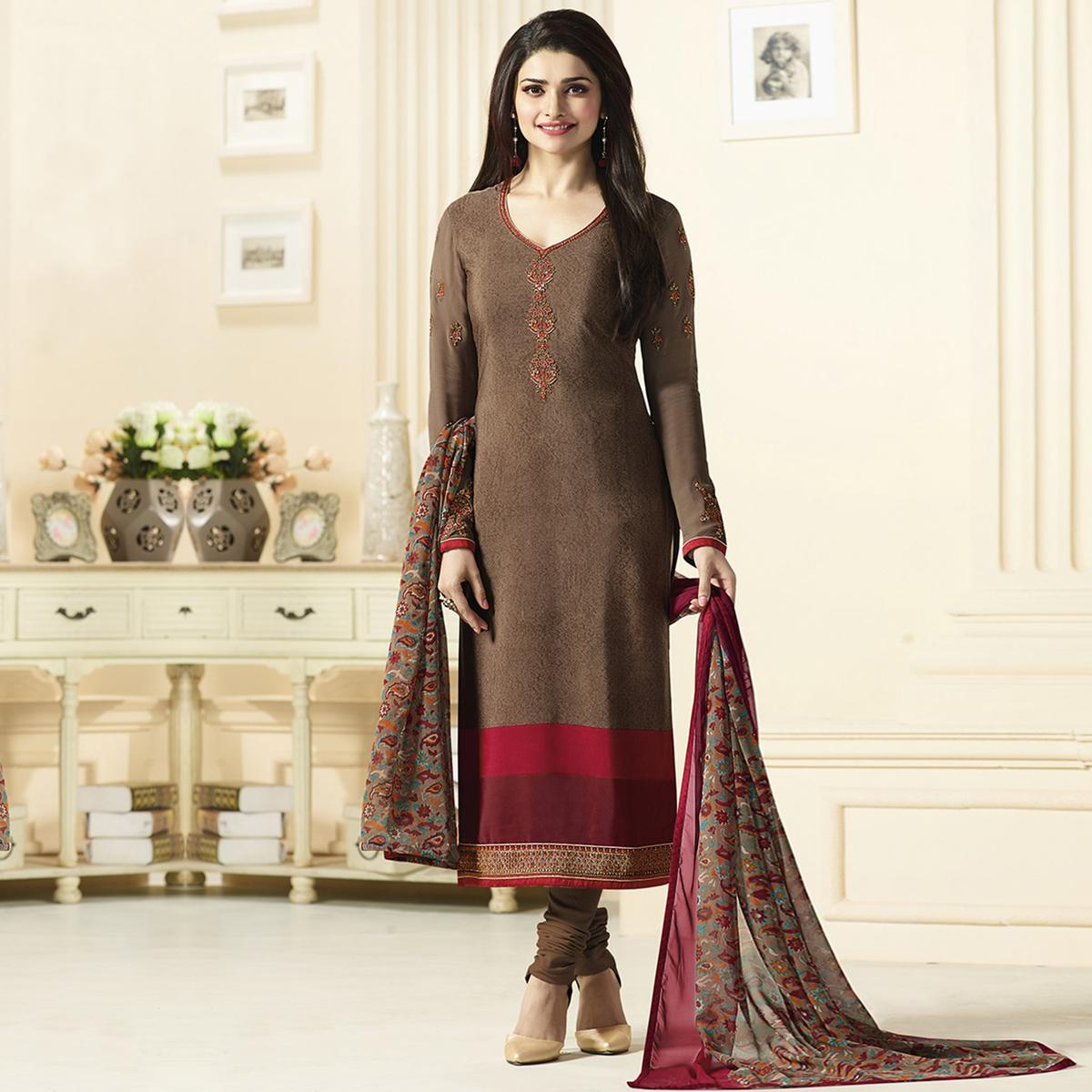 Elegant Brown Designer Embroidered Crepe Salwar Suit