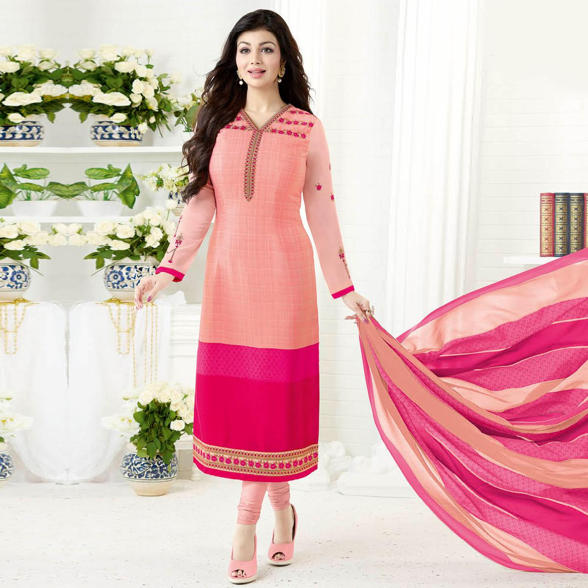 Appealing Peach Colored Embroidered Party Wear Crepe Salwar Suit
