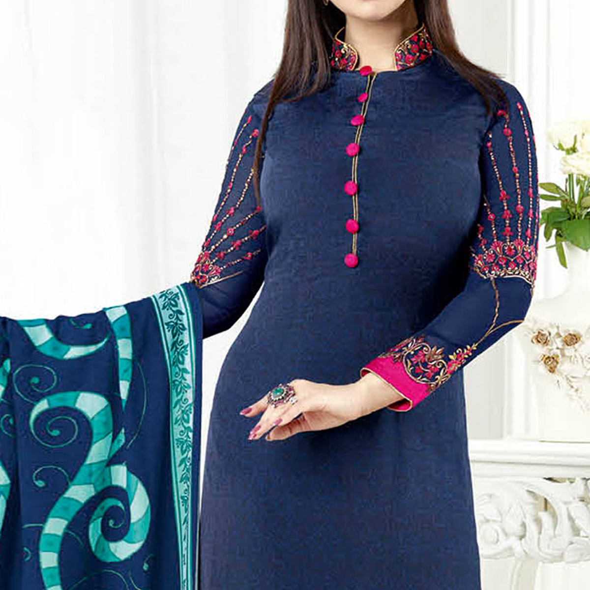 Groovy Navy Blue Colored Embroidered Party Wear Crepe Salwar Suit