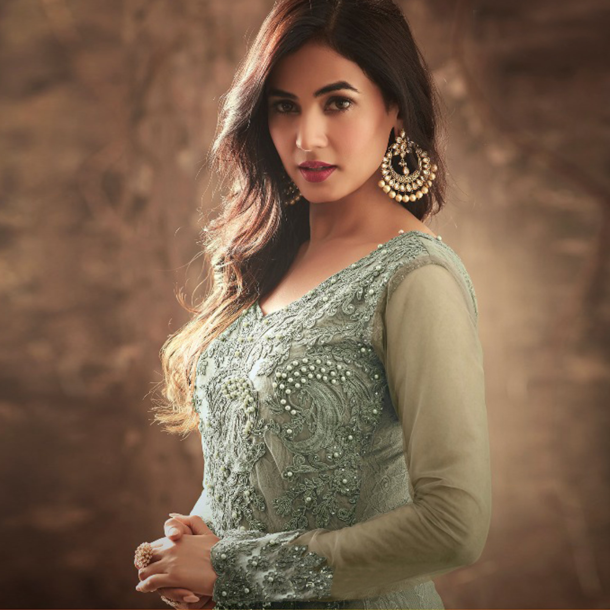 Appealing Grey Colored Party Wear Embroidered Net Suit