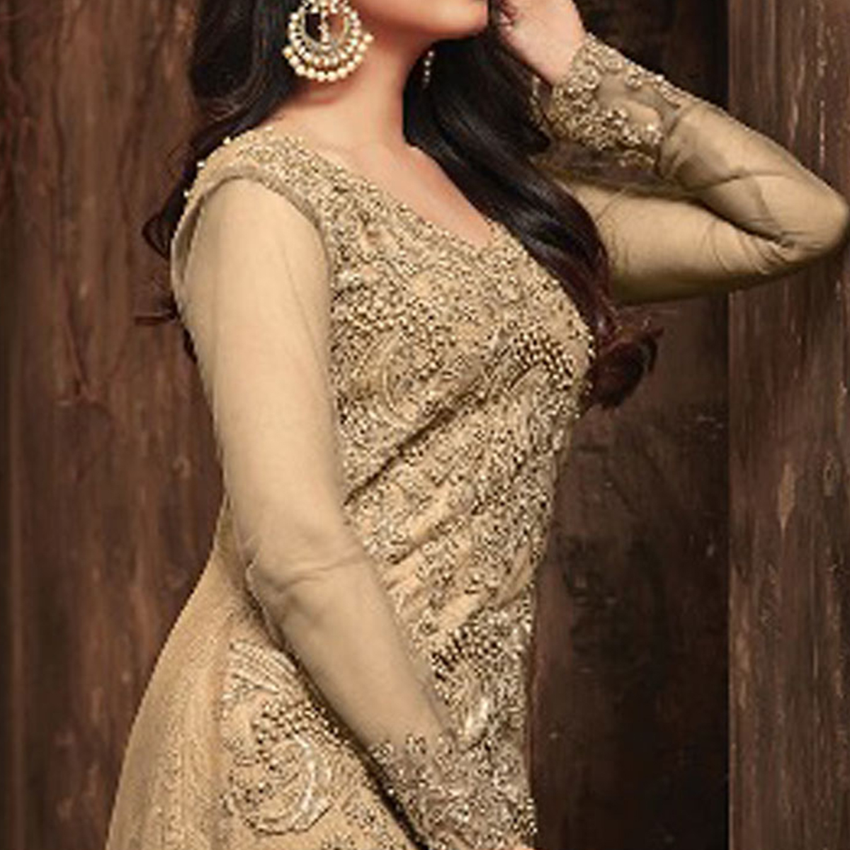 Groovy Beige Colored Party Wear Embroidered Net Suit