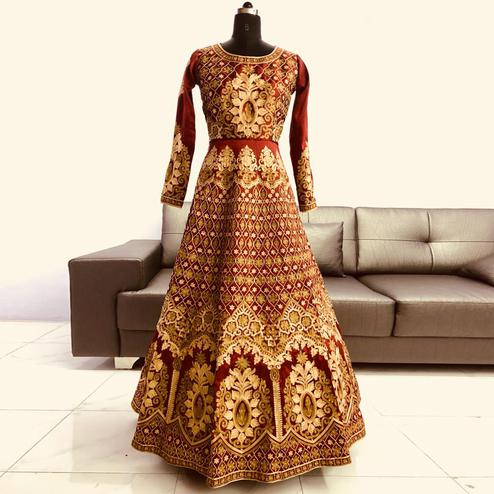 Exceptional Rust Red Colored Partywear Embroidered Mulberry Silk Anarkali Suit