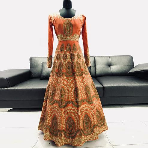 Arresting Orange Colored Partywear Embroidered Mulberry Silk Anarkali Suit