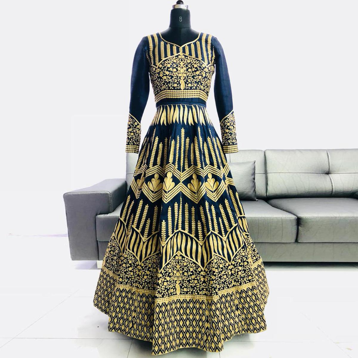 Marvellous Navy Blue Colored Partywear Embroidered Mulberry Silk Anarkali Suit
