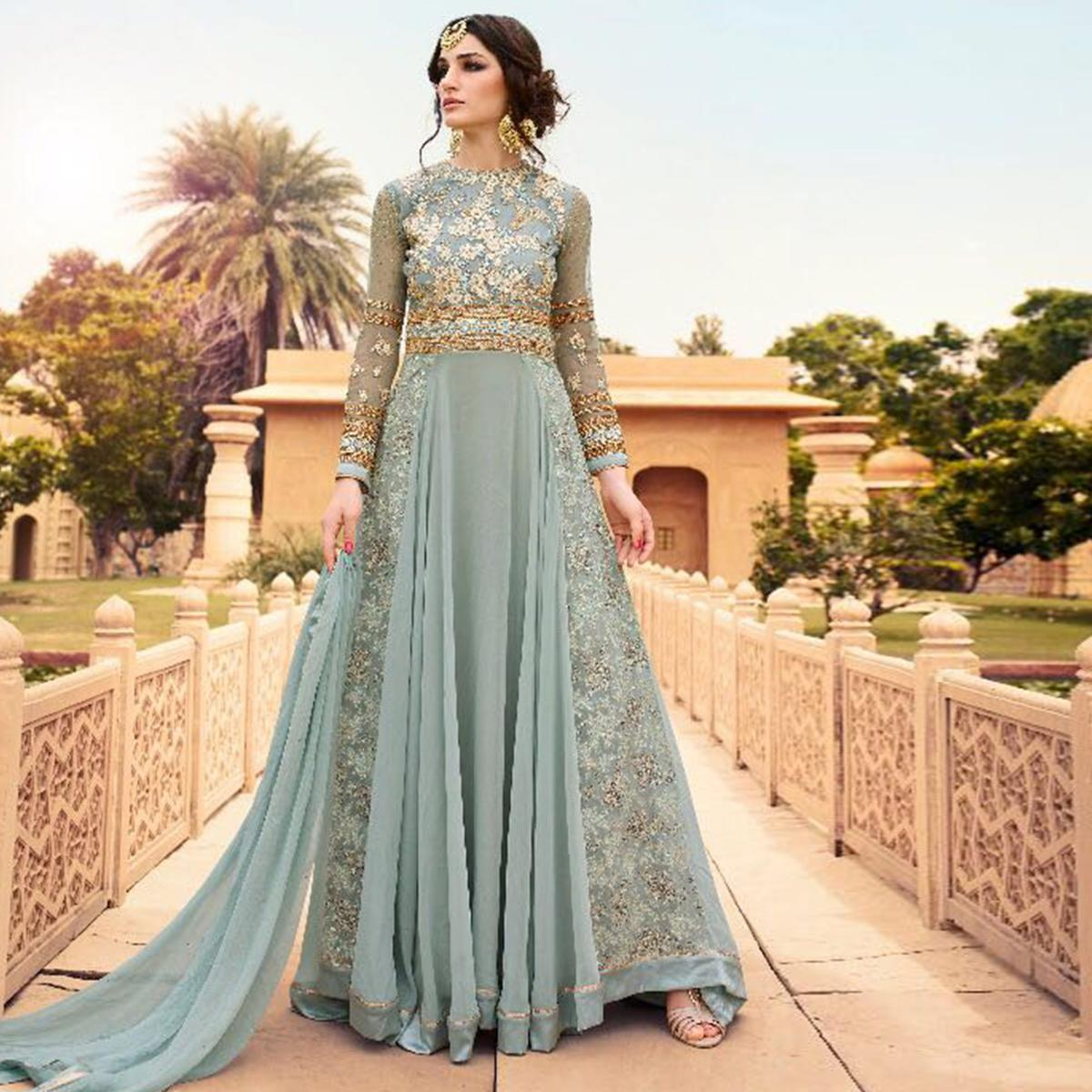 Blooming Sky Blue Colored Party Wear Embroidered Georgette Anarkali Suit
