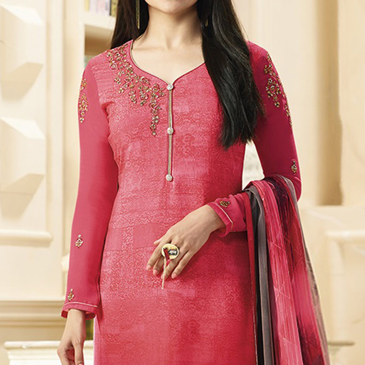 Lovely Pink Designer Embroidered Crepe Salwar Suit