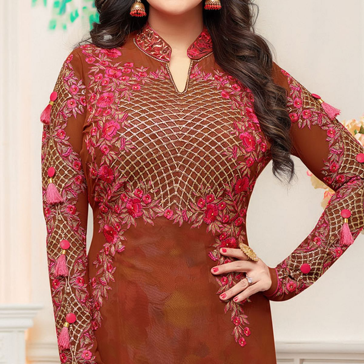 Adorning Brown Colored Party Wear Embroidered Georgette Suit