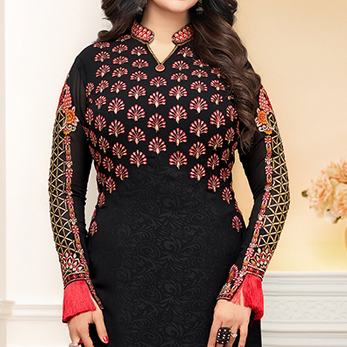 Captivating Black Colored Party Wear Embroidered Georgette Suit