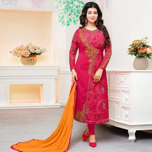 Flirty Magenta Pink Colored Party Wear Embroidered Georgette Suit
