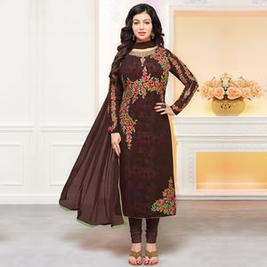 Glowing Dark Brown Colored Party Wear Embroidered Georgette Suit