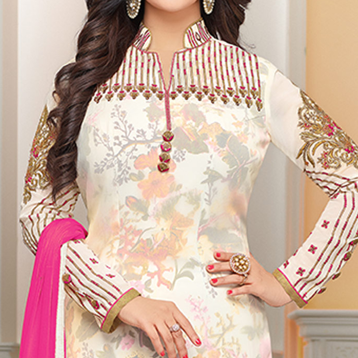 Hypnotic Off-White Colored Party Wear Embroidered Georgette Suit