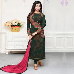 Trendy Dark Green Colored Party Wear Embroidered Georgette Suit