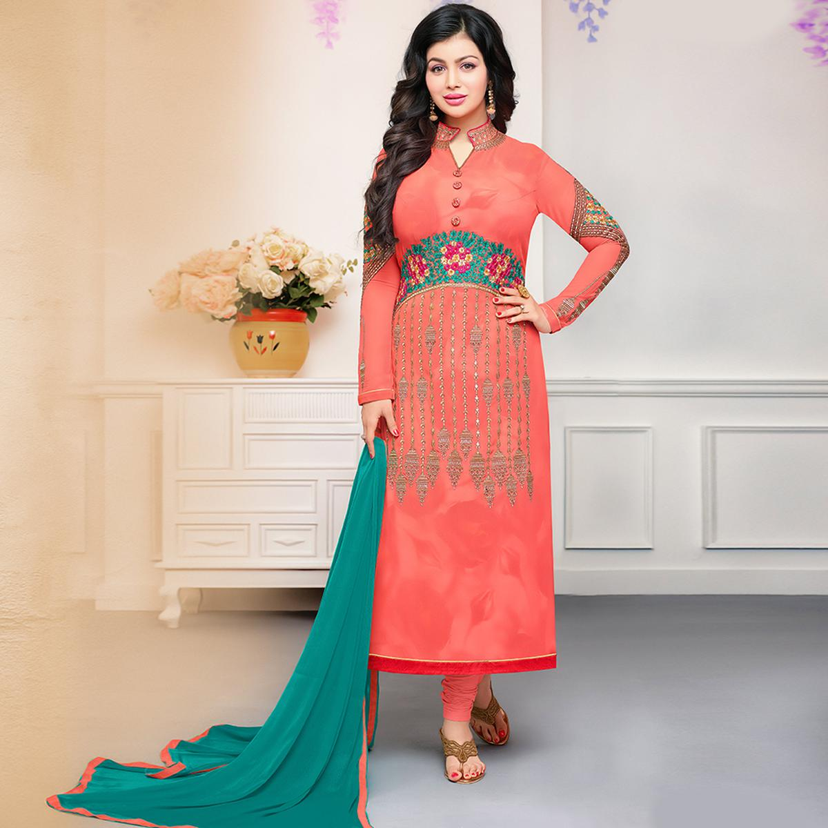 Jazzy Peach Colored Party Wear Embroidered Georgette Suit