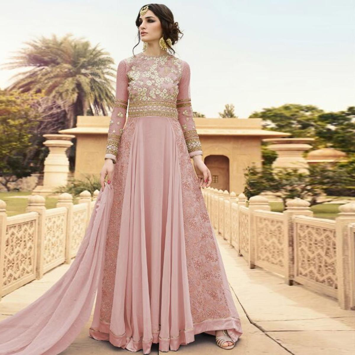 Marvellous Pink Colored Party Wear Embroidered Georgette Anarkali Suit
