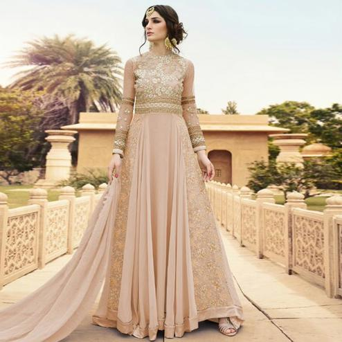 Mesmerising Beige Colored Party Wear Embroidered Georgette Anarkali Suit