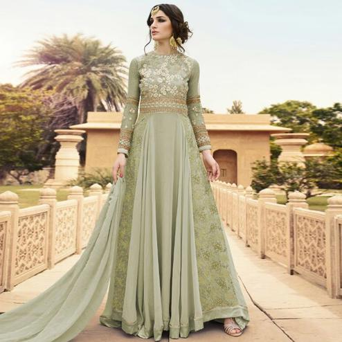 Ravishing Mint Green Colored Party Wear Embroidered Georgette Anarkali Suit