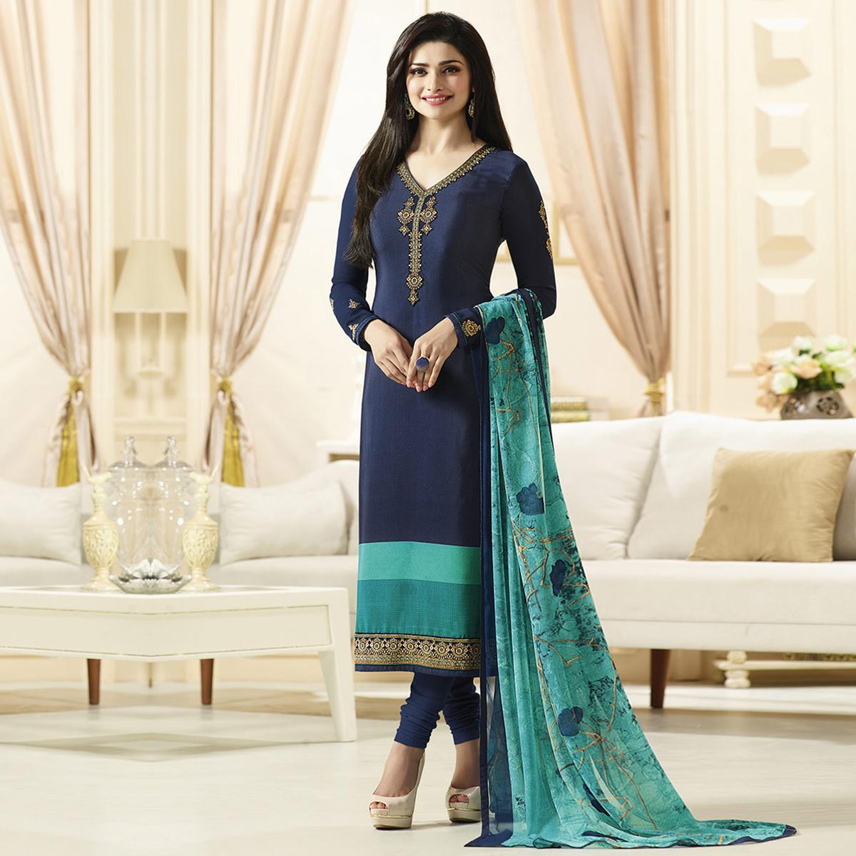 Beautiful Blue Designer Embroidered Crepe Salwar Suit
