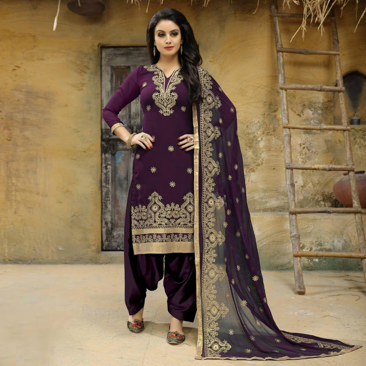 Desirable Purple Colored Party Wear Embroidered Faux Georgette Salwar Suit