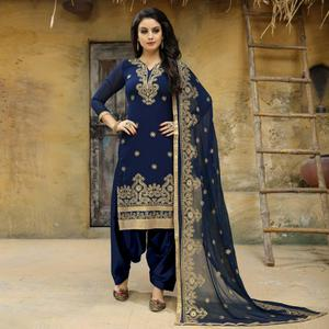 Sophisticated Blue Colored Party Wear Embroidered Faux Georgette Salwar Suit