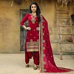 Demanding Red Colored Party Wear Embroidered Faux Georgette Salwar Suit