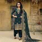 Pleasant Teal Blue Colored Party Wear Embroidered Faux Georgette Salwar Suit