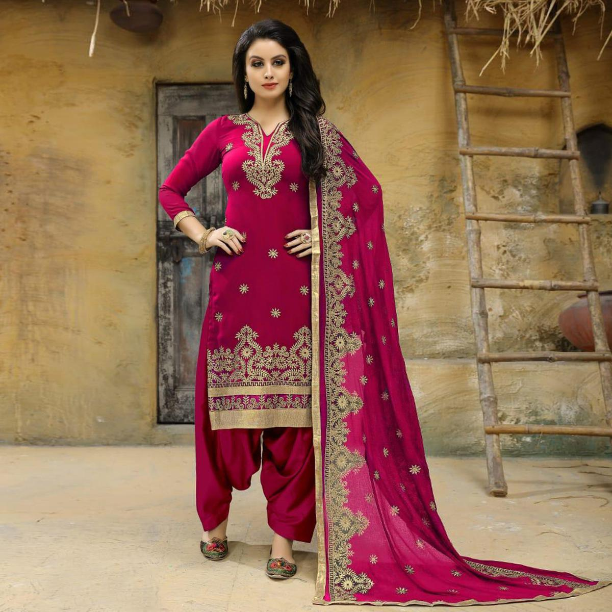 Unique Pink Colored Party Wear Embroidered Faux Georgette Salwar Suit