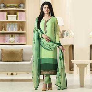 Delightful Light Green Designer Embroidered Crepe Salwar Suit