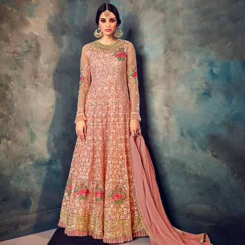 Marvellous Pink Colored Partywear Embroidered Netted Anarkali Suit