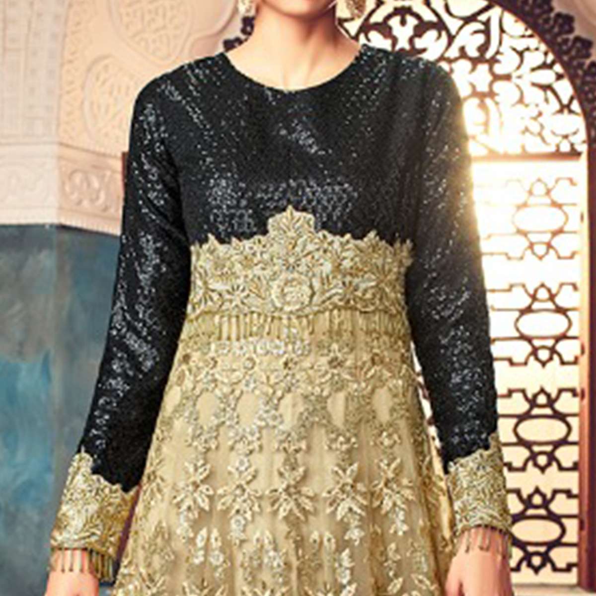 Gorgeous Golden-Black Colored Partywear Embroidered Netted Anarkali Suit