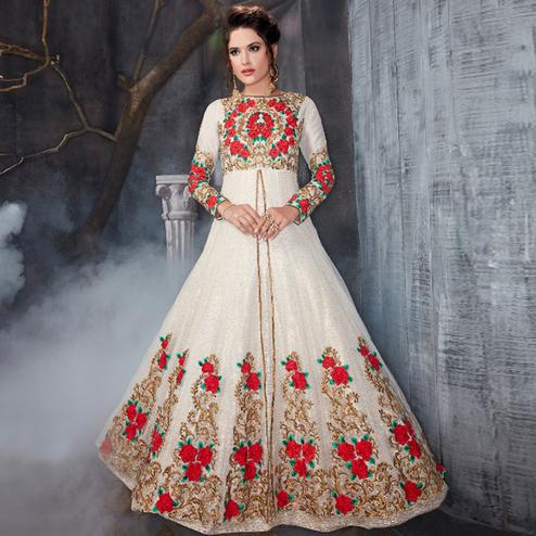 Intricate White Colored Party Wear Embroidered Heavy Net Anarkali Suit