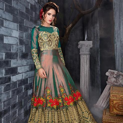 Desirable Green Colored Party Wear Embroidered Silk Anarkali Suit