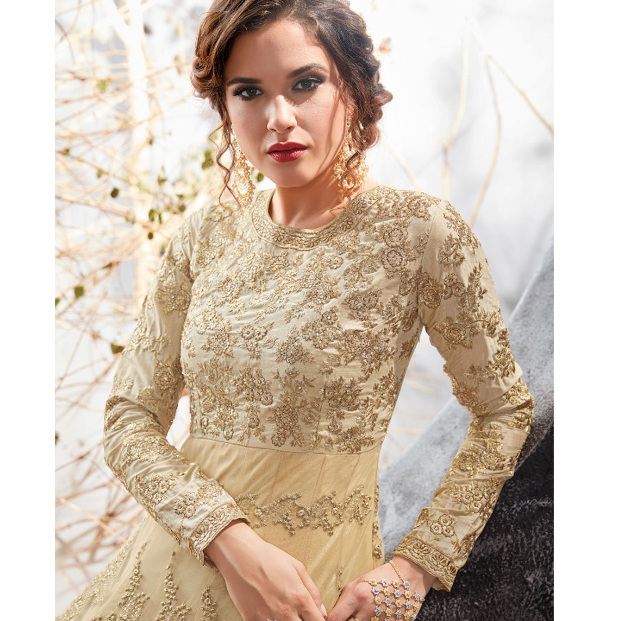 Sophisticated Beige Colored Party Wear Embroidered Heavy Net Anarkali Suit