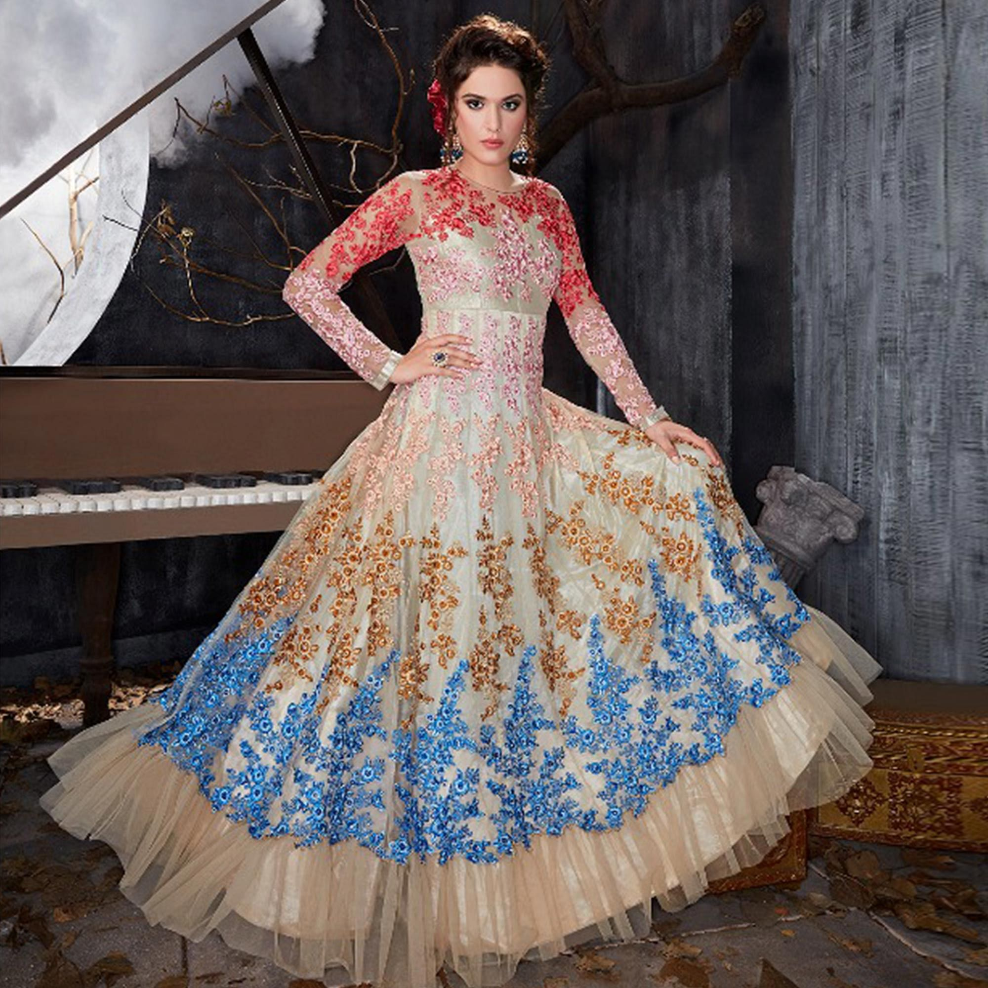 Demanding Silver Colored Party Wear Embroidered Heavy Net Anarkali Suit