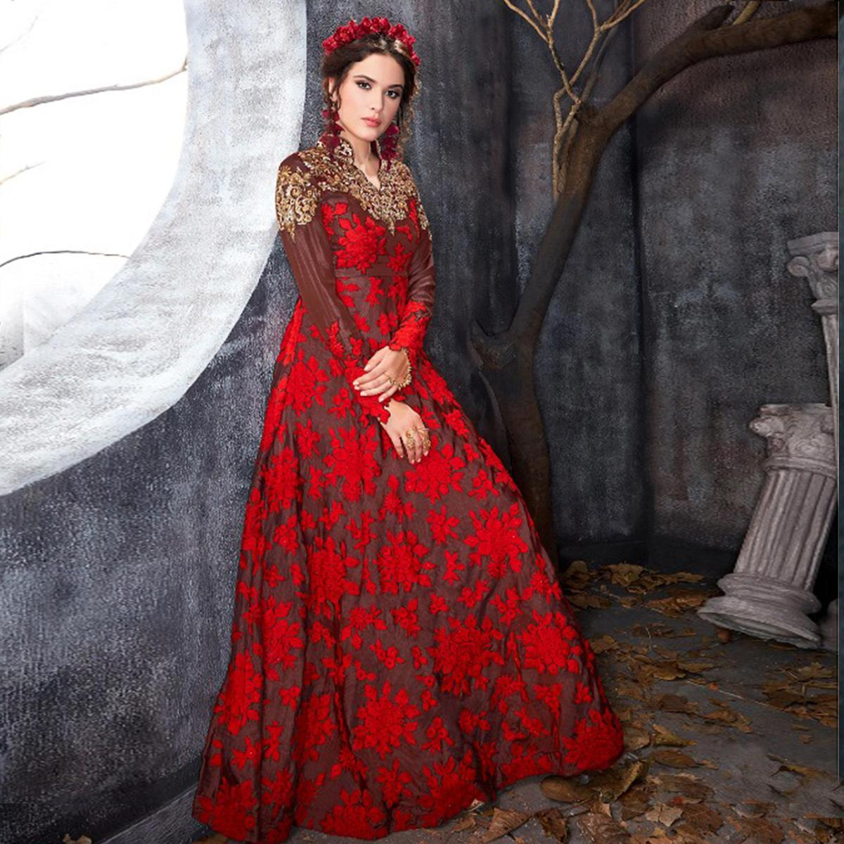 Pleasant Brown-Red Colored Party Wear Embroidered Silk Anarkali Suit