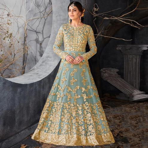 Unique Bluish Grey Colored Party Wear Embroidered Heavy Net Anarkali Suit