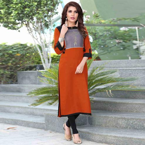 Stylish Orange Colored Casual Printed Rayon Kurti