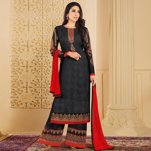 Amazing Black Colored Partywear Embroidered Georgette Palazzo Suit
