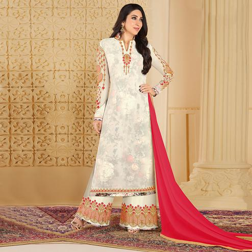 Appealing White Colored Partywear Embroidered Georgette Palazzo Suit