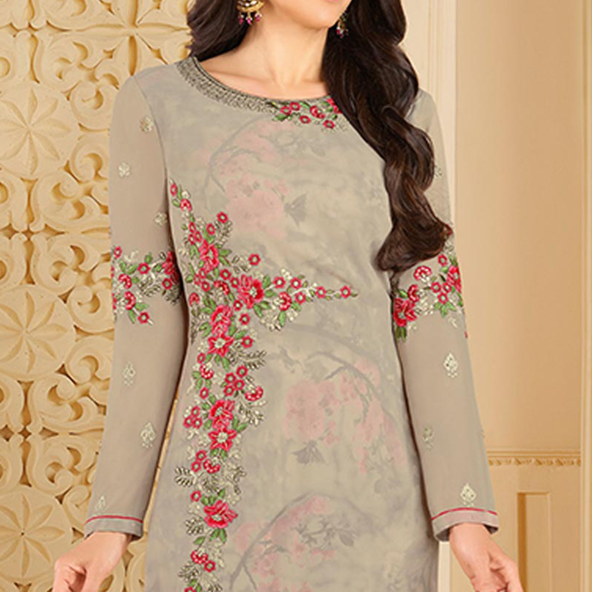 Demanding Gray Colored Partywear Embroidered Georgette Palazzo Suit