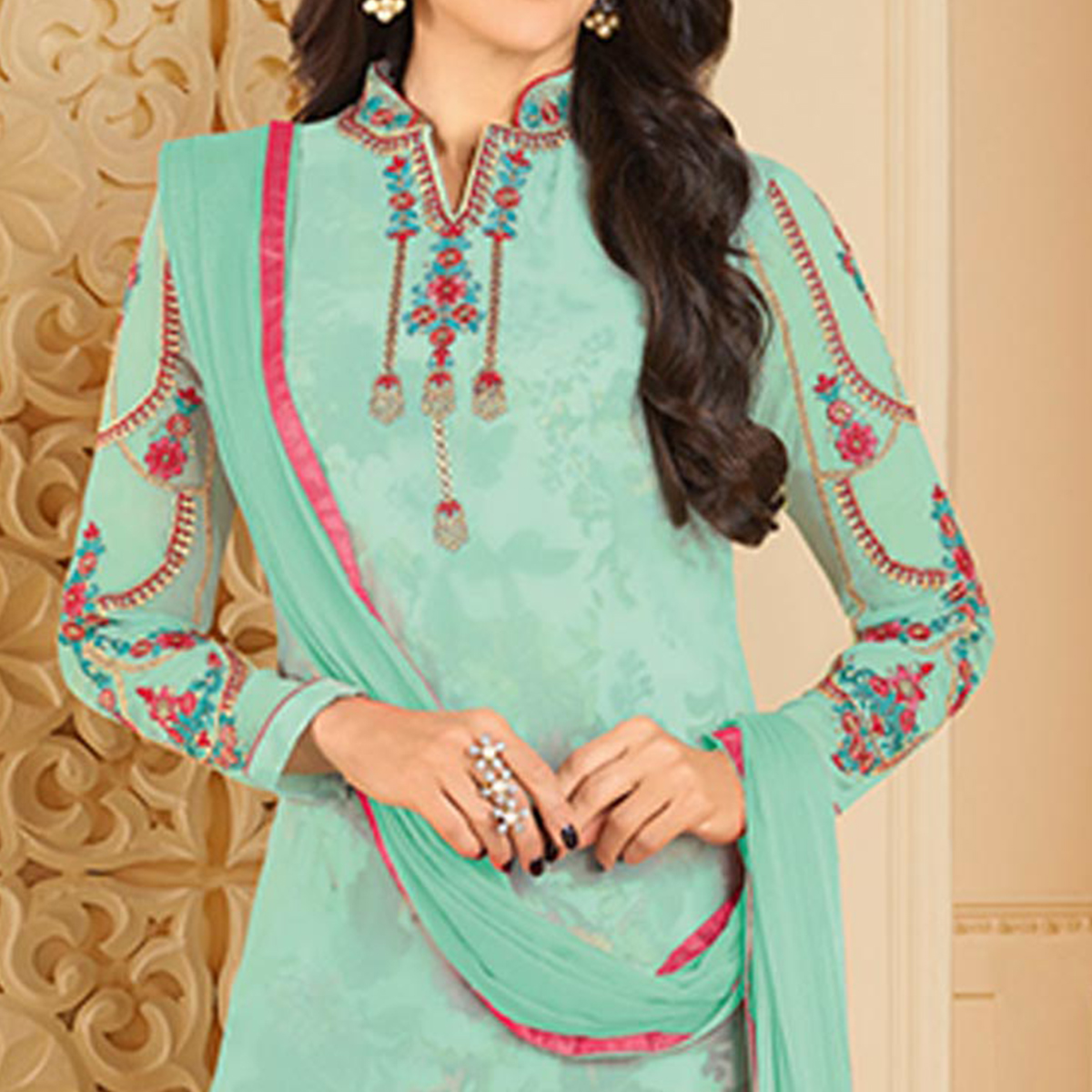 Refreshing Aqua Blue Colored Partywear Embroidered Georgette Palazzo Suit